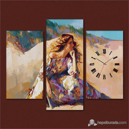 Tabloshop - Brooding Woman 3 Parçalı Simetrik Canvas Tablo Saat - 80X60cm