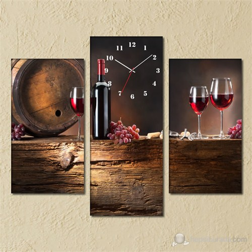 Tabloshop - Red Wine 3 Parçalı Simetrik Canvas Tablo Saat