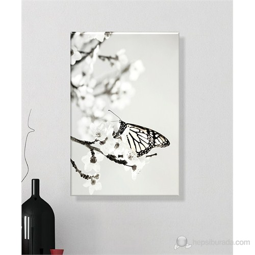 Dalda Kelebek Dekoratif Kanvas Tablo