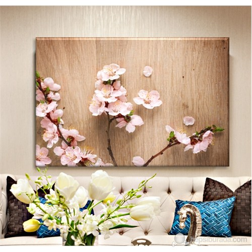 Ahşapta Çiçek Dekoratif Kanvas Tablo