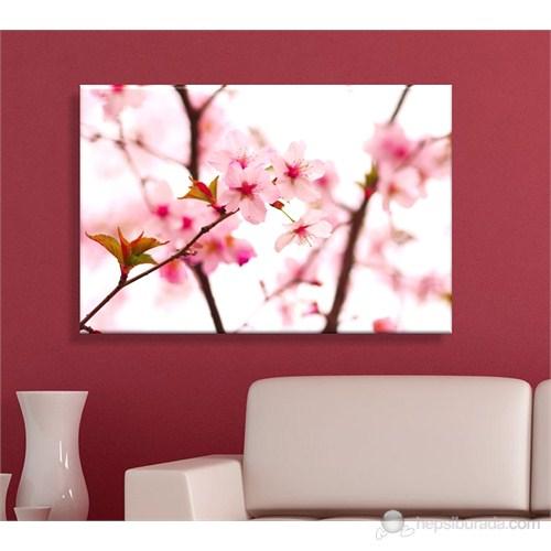 Pembe Çiçek Ağaç Dekoratif Kanvas Tablo