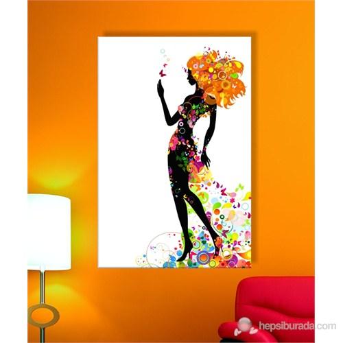 Çiçek Saçlı Kadın Dekoratif Kanvas Tablo