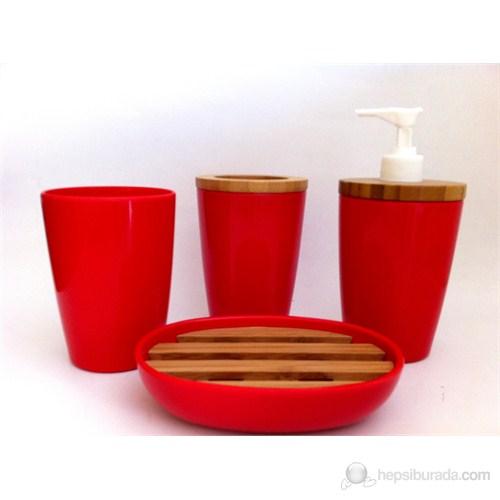 Bosphorus Kırmızı Melamin Ve Bambu Banyo Seti