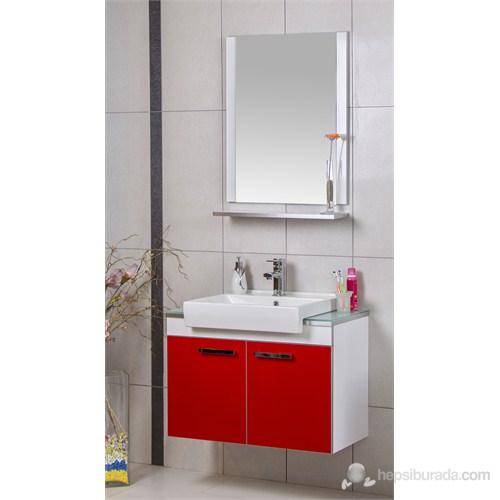 Öykü 80 Cm Banyo Dolabı - Kırmızı