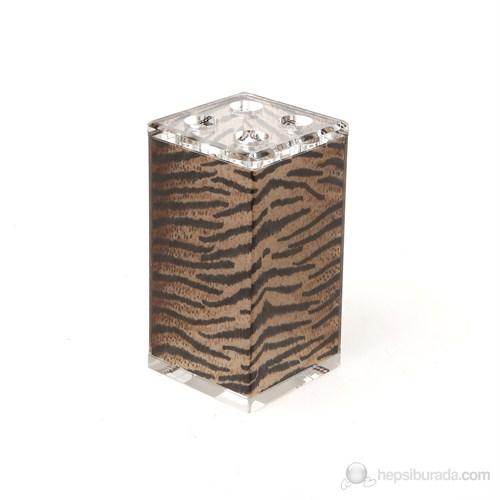 Çizgili Leopar Kumaş Desenli Diş Fırçalık