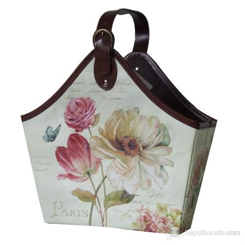 Gazetelik Tek Saplı Kelebekli Pembe-Beyaz Çiçekli (33*17*42)