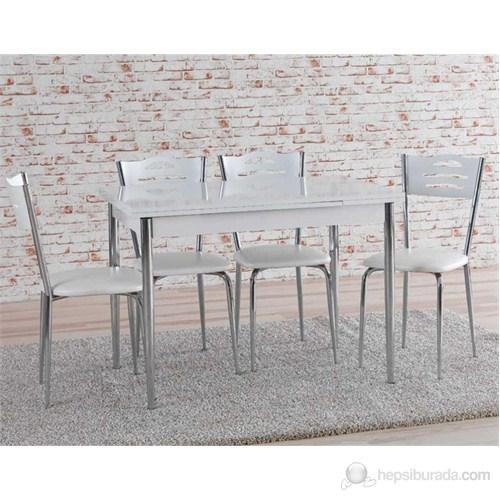 Yandan Açılır Nikelajlı Masa SandalyeTakımı - Parlak Beyaz