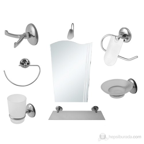 8 Parça Krom Banyo Aynalı Set (Bayrak Model)