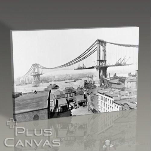 Pluscanvas - New York - Brooklyn Bridge On Construction Tablo