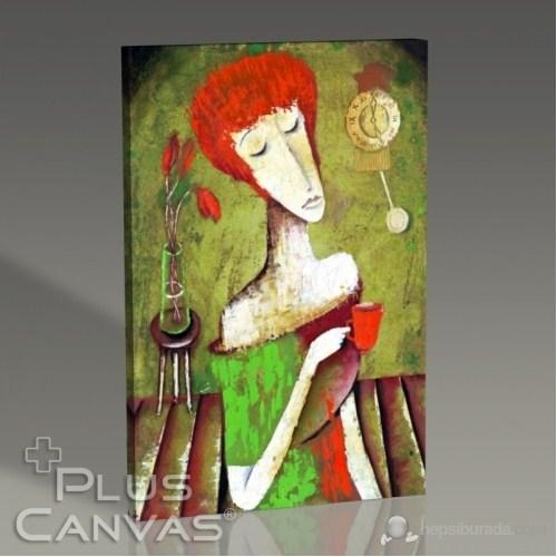 Pluscanvas - Marinne Vias - Woman Drinking Tea Tablo