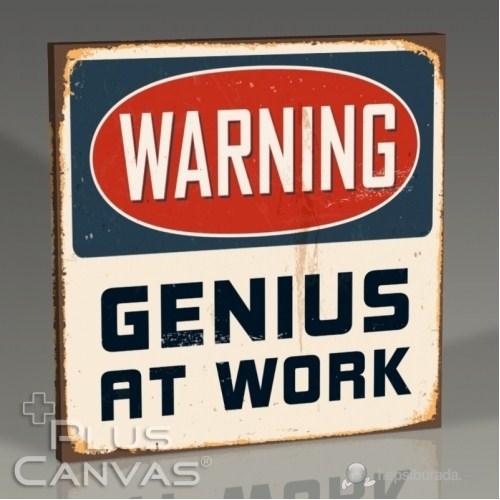 Pluscanvas - Warning Genius At Work Tablo
