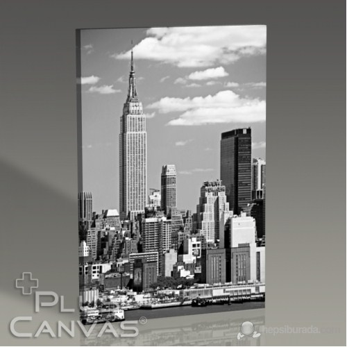 Pluscanvas - New York - Empire States Building Bw Tablo