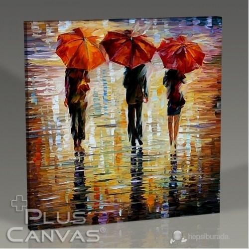Pluscanvas - Üç Kırmızı Şemsiye Tablo