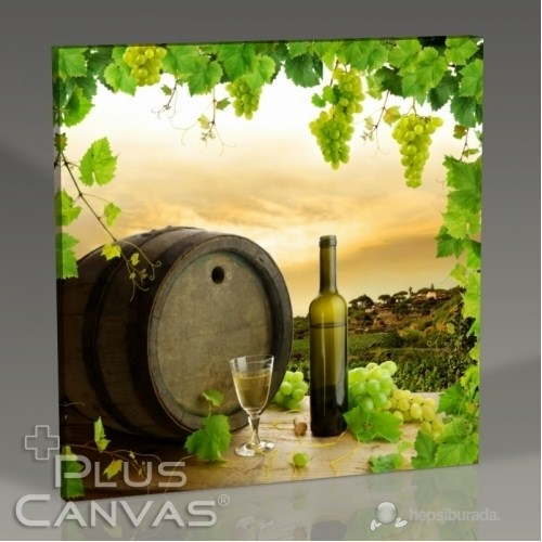 Pluscanvas - White Wine And Barrel Tablo