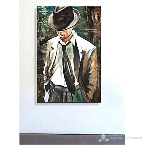 Şapkalı Adam Dekoratif Kanvas Tablo