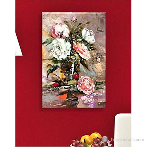 Vazoda Çiçekler Dekoratif Kanvas Tablo