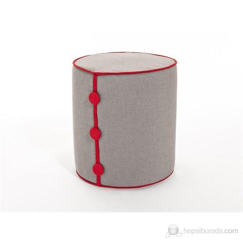 Decortie Dots Puf - Krem-Kırmızı