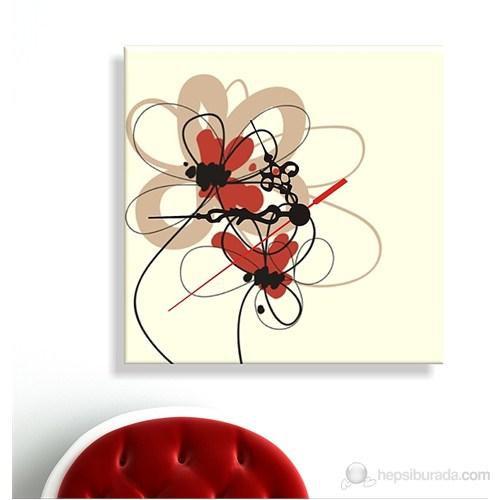 Kanvas Saat Çiçek