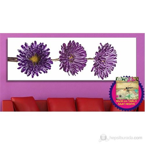 Lila Çiçekler Kanvas Tablo (Saat HEDİYE)