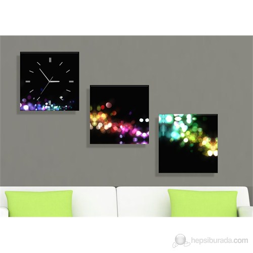 Renkli Işıklar 3 Parçalı Tablo Saat