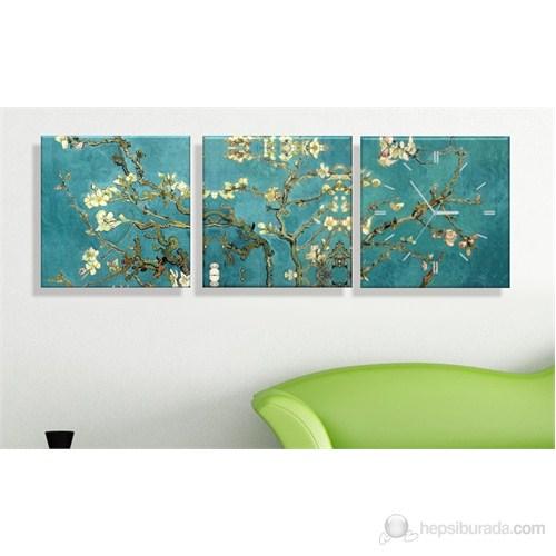 Arte Badem Çiçekleri Kanvas Tablo Saat