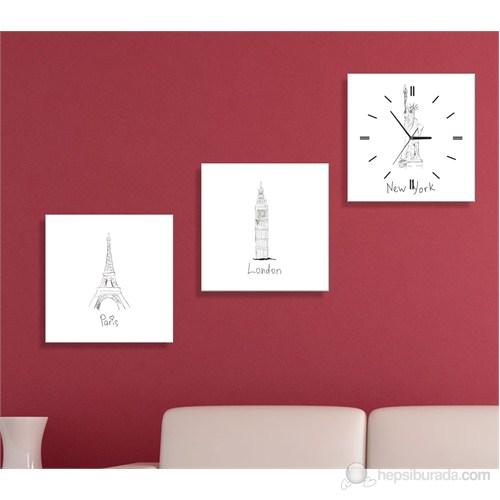 New York London Paris 3 Parçalı Tablo Saat