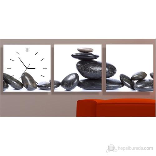 Spa Taşları 3 Parçalı Tablo Saat