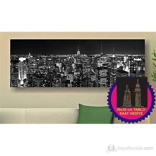 Arte Gece Şehir Kanvas Tablo (Saat HEDİYE)