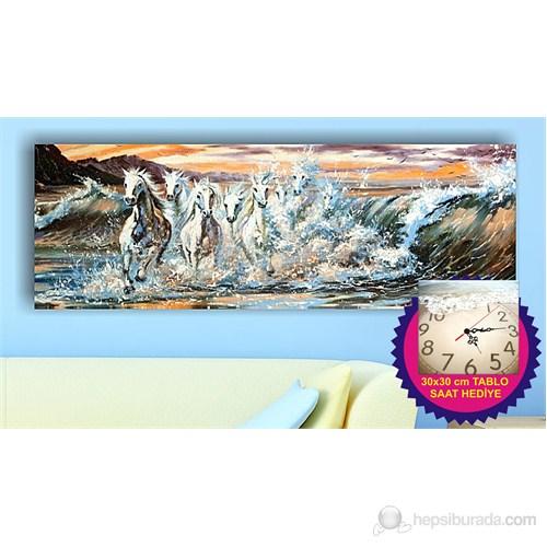 Arte Dalgalar ve Atlar Kanvas Tablo (Saat HEDİYE)