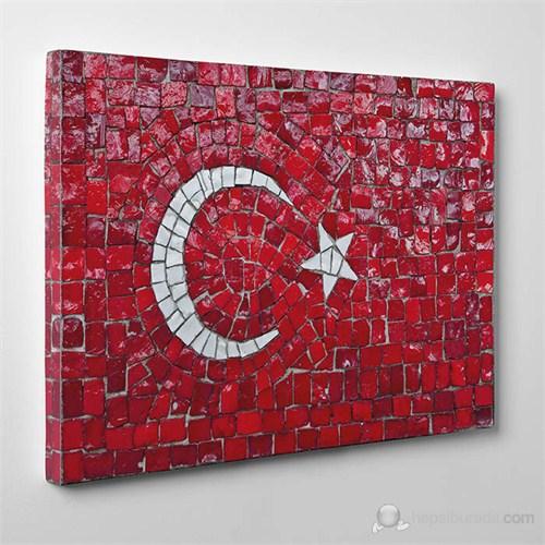 Tabloshop - Türk Bayrağı Mozaik Taşlar Canvas Tablo - 75X50cm