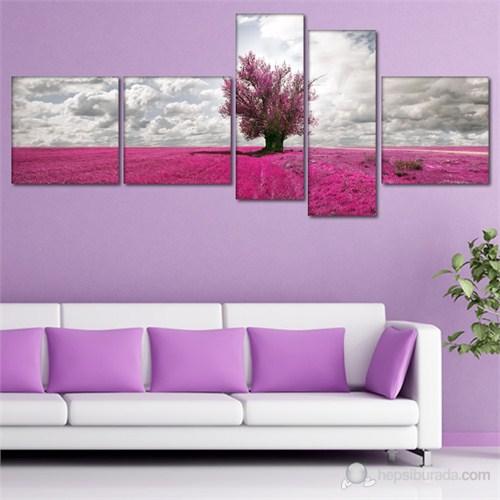 Tabloshop - Lavender Field - 5 Parçalı Canvas Tablo 180X75cm