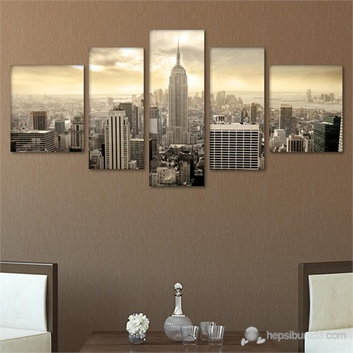 Tabloshop - New York Sepya 5 Parçalı Tablo - 180X90cm