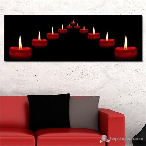 Tabloshop - Red Candles Canvas Tablo - 90X30cm