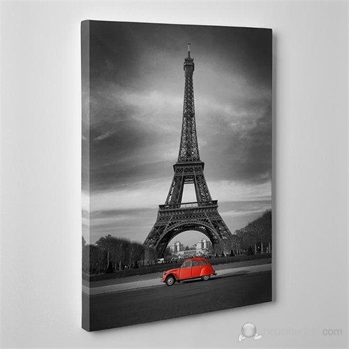 Tabloshop - Eiffel And Red Car Canvas Tablo - 75X50cm