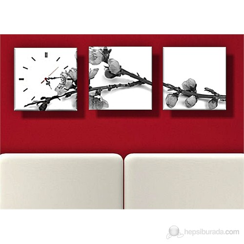 Siyah Beyaz Kanvas Tablo ve Saat