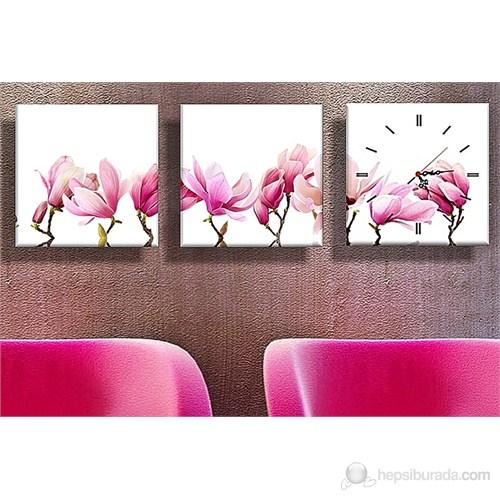 Pembe Çiçekler Kanvas Tablo ve Saat