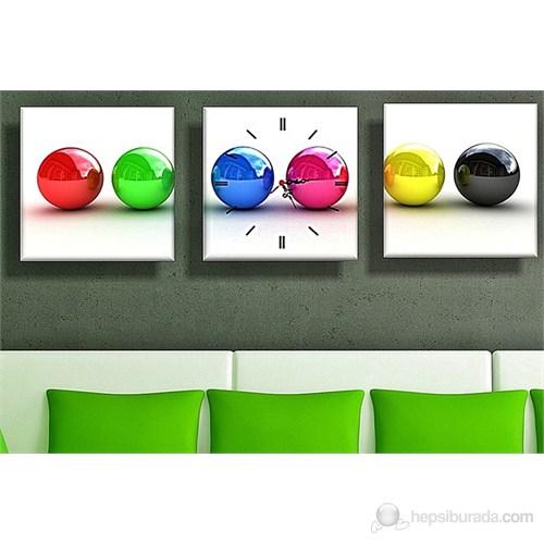 Renkli Toplar Kanvas Tablo ve Saat