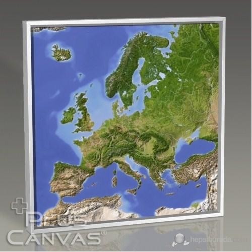 Pluscanvas - Avrupa Fiziki Harita Kanvas Tablo