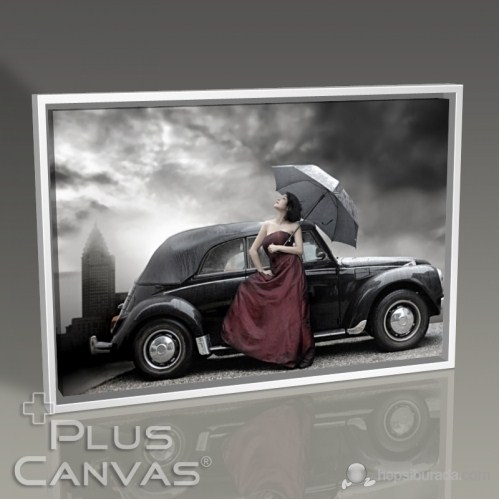 Pluscanvas - Beautiful Woman İn Fornt Of Black Car Tablo