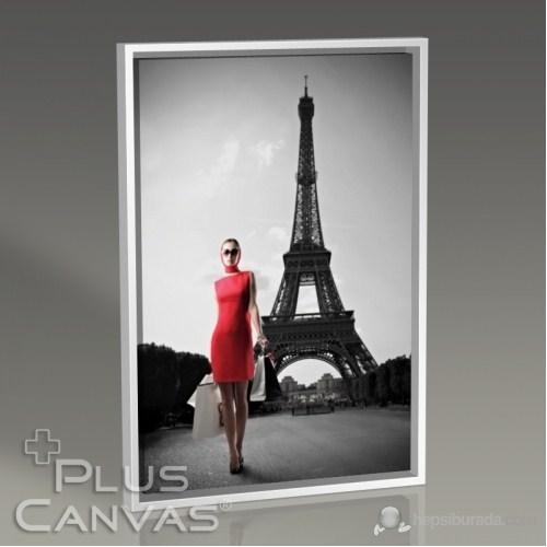 Pluscanvas - Paris - Red Dressed Woman Tablo
