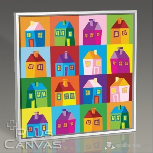 Pluscanvas - Colored Houses Tablo