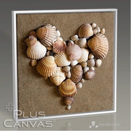 Pluscanvas - Heart Shaped Sea Shells Tablo