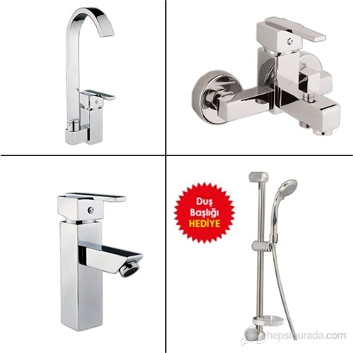 Kare Banyo - Mutfak Batarya Seti + Sürügülü Duş Seti Hediyeli