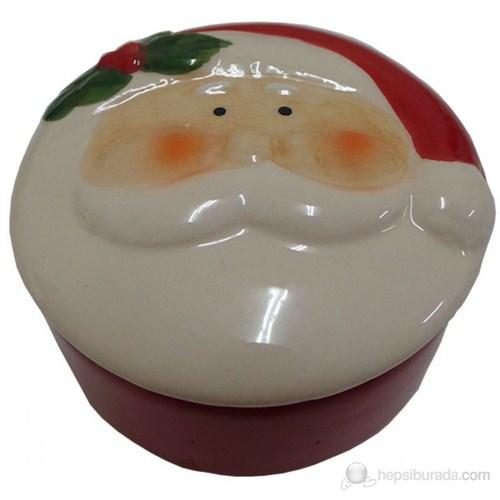 Noel Baba Figürlü Seramik Yılbaşı Hediye Kutusu Yuvarlak