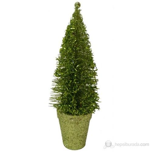 Yeşil Simli Çam Ağacı Masa Üzeri Süsü 22 Cm