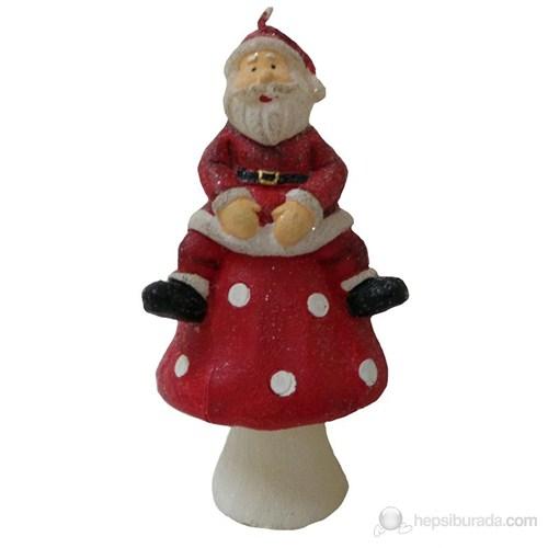 Mantar Üzerinde Noel Baba Mum 13 Cm