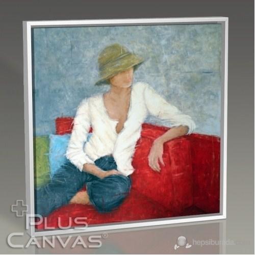 Pluscanvas - Woman Sitting On Red Chair Tablo