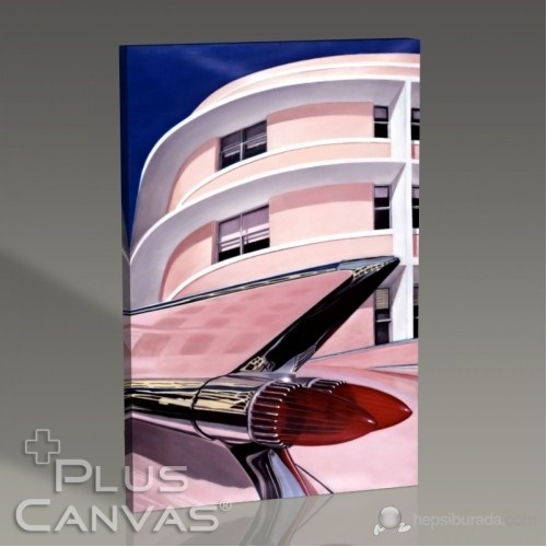 Pluscanvas - Pembe Cadillac Miami Tablo
