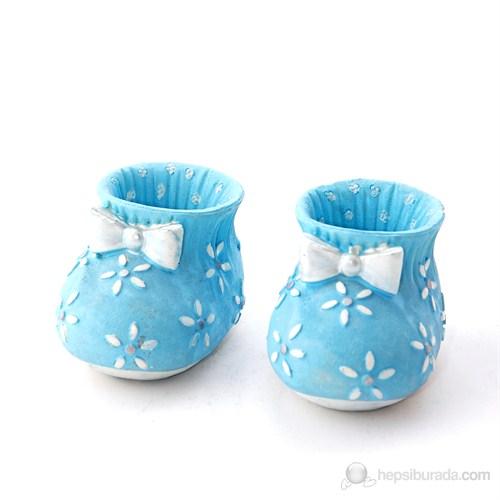 Çiçekli Küçük Patik Mavi 6'Lı Set