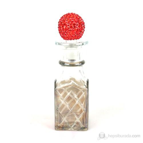 Dekoratif Mini Şişe Baklava Kesme Kırmızı Taşlı Kapaklı